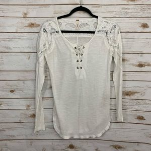 Free People Lace Up Crochet Detail Long Sleeve Top